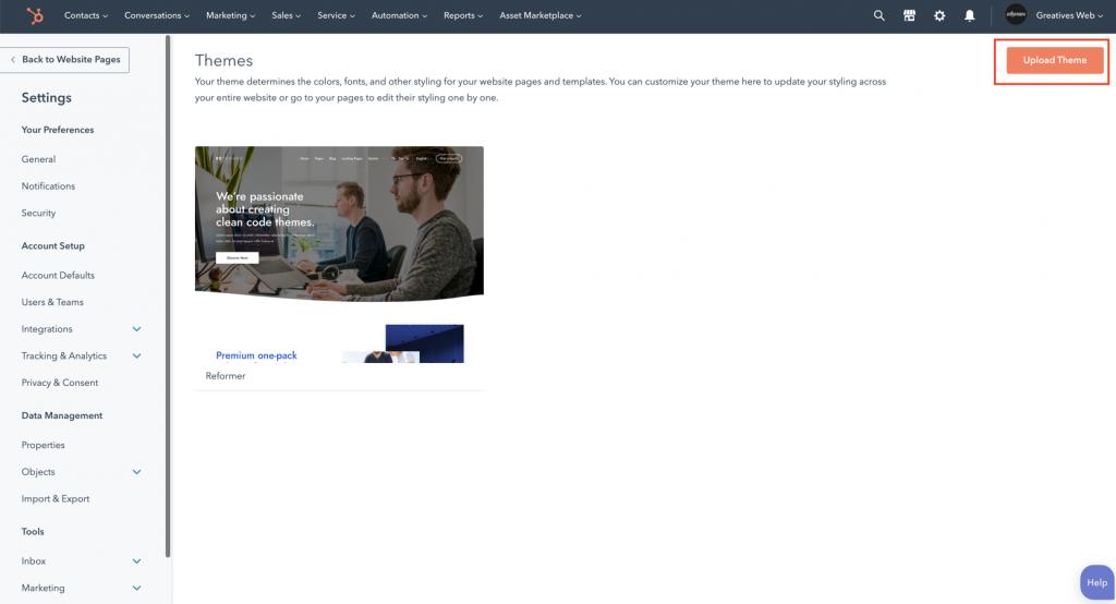 Upload Hubspot Theme